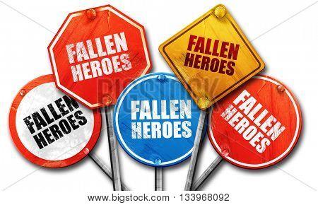 fallen heroes, 3D rendering, street signs