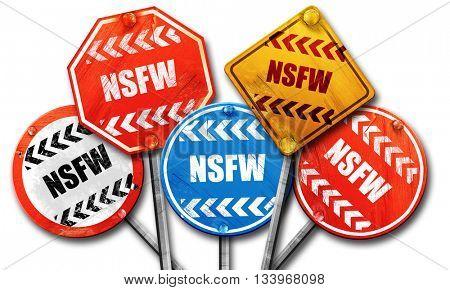 Not safe for work sign, 3D rendering, street signs