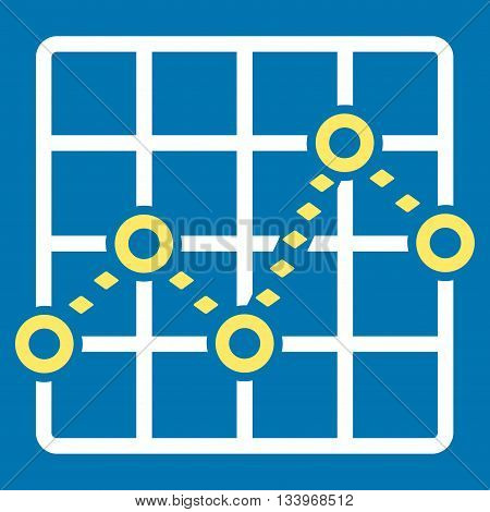 Dotted Line Grid Plot vector toolbar icon. Style is bicolor flat icon symbol, yellow and white colors, blue background, rhombus dots.