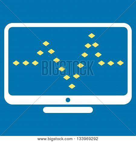 Monitor Dotted Pulse vector toolbar icon. Style is bicolor flat icon symbol, yellow and white colors, blue background, rhombus dots.