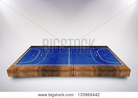 Drawing of sports field against weathered oak floor boards background