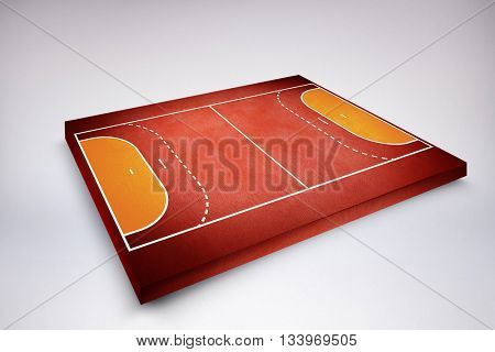 Drawing of sports field against red background