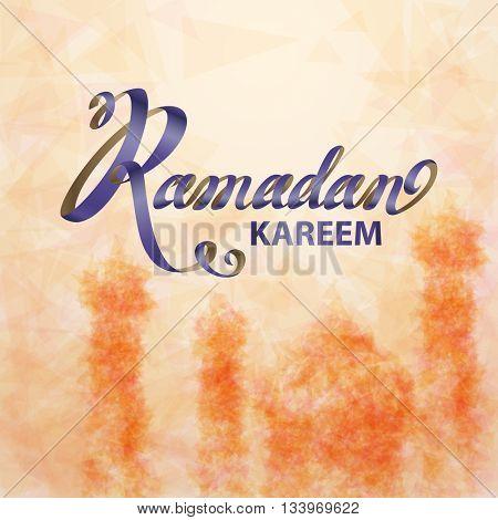 Ramadan Kareem beautiful greeting card. Islamic background with mosques suitable also for Eid Mubarak .
