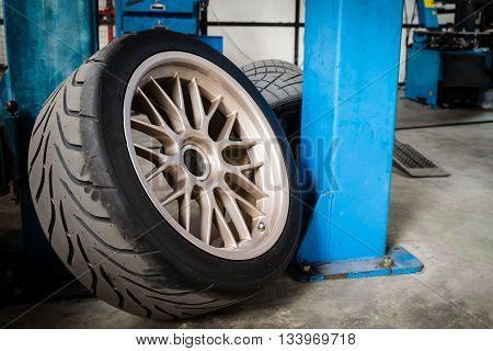 Sport wheel and tyre between maintenance hour in garage