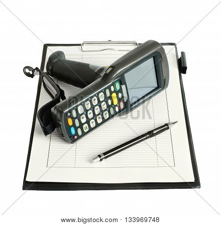 Business Still Life With Barcode Scanner