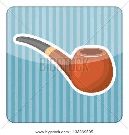 Pipe tobacco colorful icon. Vector illustration in cartoon style