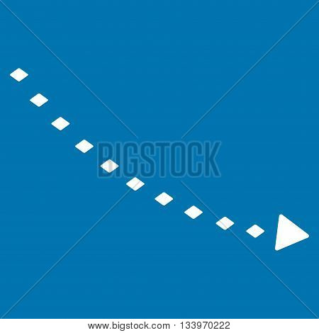 Dotted Decline Trend vector toolbar icon. Style is flat icon symbol, white color, blue background, rhombus dots.