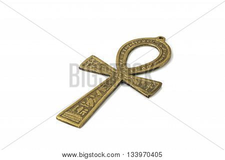 Egyptian symbol of life Ankh isolated on white background with shadows