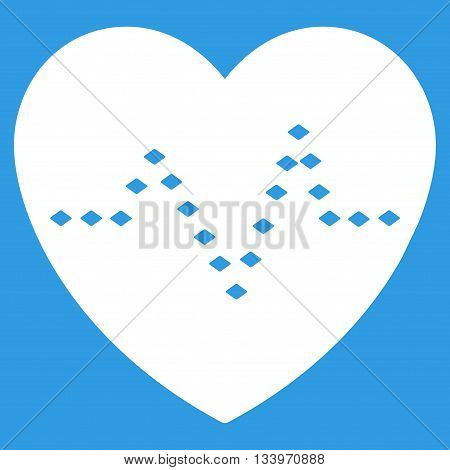 Dotted Heart Pulse vector toolbar icon. Style is flat icon symbol, white color, blue background, rhombus dots.