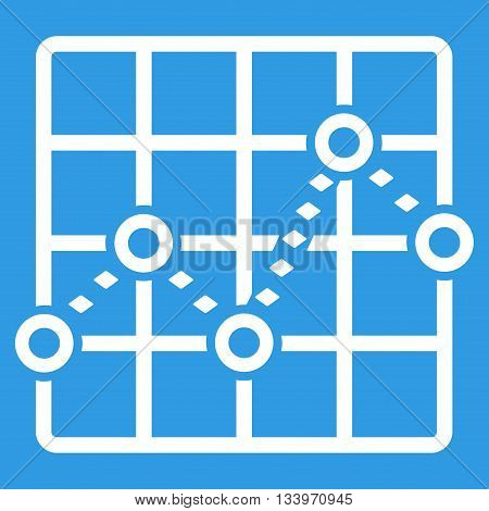 Dotted Line Grid Plot vector toolbar icon. Style is flat icon symbol, white color, blue background, rhombus dots.