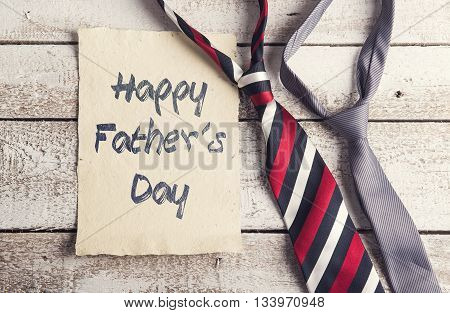 Happy Father's Day note with two ties