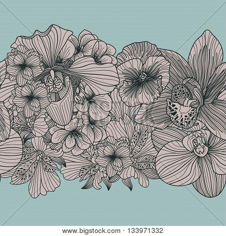 Seamless vintage flower border on blue background