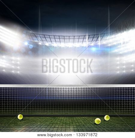 Composite image of a tennis net against american football arena