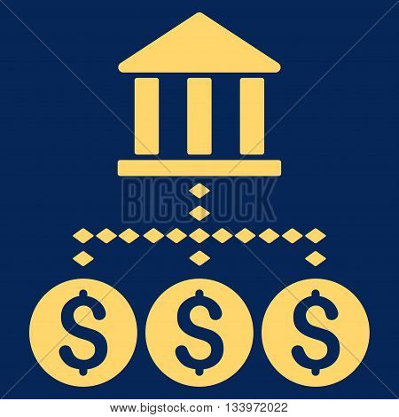 Bank Structure vector toolbar icon. Style is flat icon symbol, yellow color, blue background, rhombus dots.