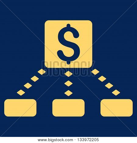 Cashout Scheme vector toolbar icon. Style is flat icon symbol, yellow color, blue background, rhombus dots.