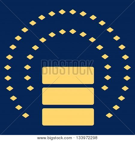 Database Sphere Shield vector toolbar icon. Style is flat icon symbol, yellow color, blue background, rhombus dots.