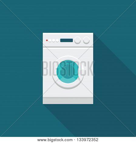 Flat icon of washing machine. Vector illustration