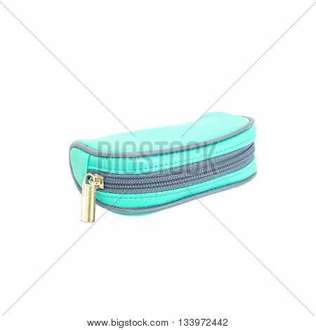 Closeup green small bag isolated on white background with clipping path
