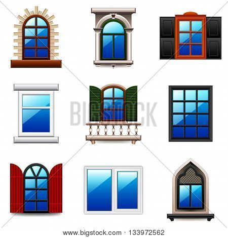 Windows icons detailed photo realistic vector set