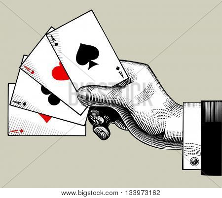 Hand with ace playing cards fan. Vintage engraving stylized drawing. Vector illustration