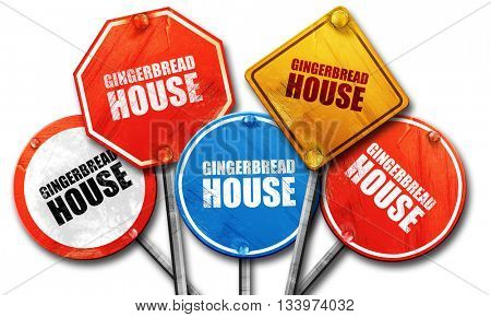 gingerbread house, 3D rendering, street signs