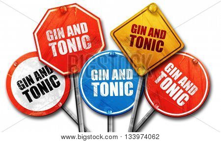 gin and tonic, 3D rendering, street signs