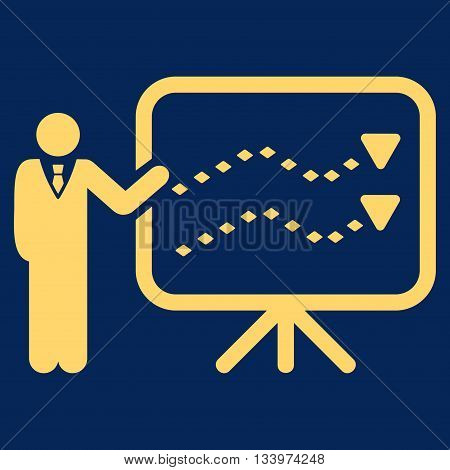 Trends Presentation vector toolbar icon. Style is flat icon symbol, yellow color, blue background, rhombus dots.