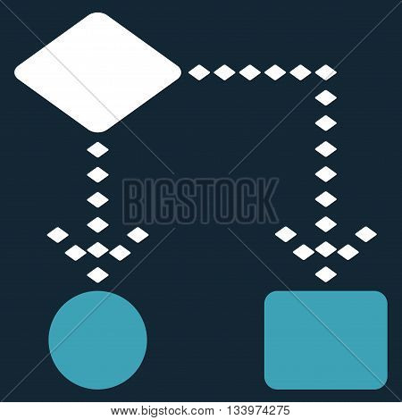 Algorithm Scheme vector toolbar icon. Style is bicolor flat icon symbol, blue and white colors, dark blue background, rhombus dots.