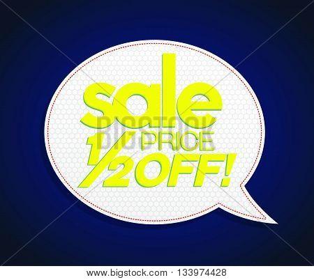 Sale Tag Half Price Off Bright Yellow