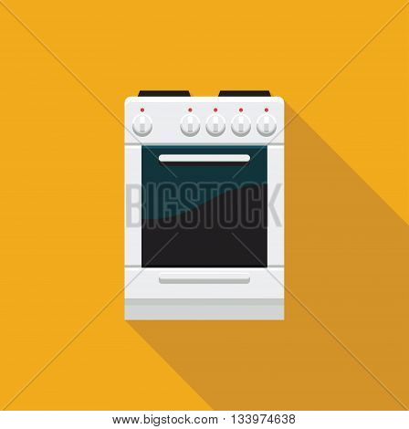 Color flat icon electric cooking range with oven