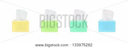 Closeup color box of toilet paper with white toilet paper isolated on white background with clipping path