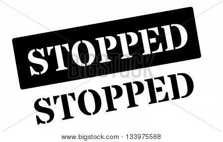 Stopped Black Rubber Stamp On White