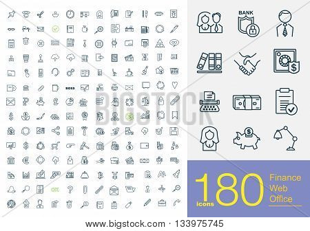 180 professional line icons about finance, web and office. Big set icons for internet and business.
