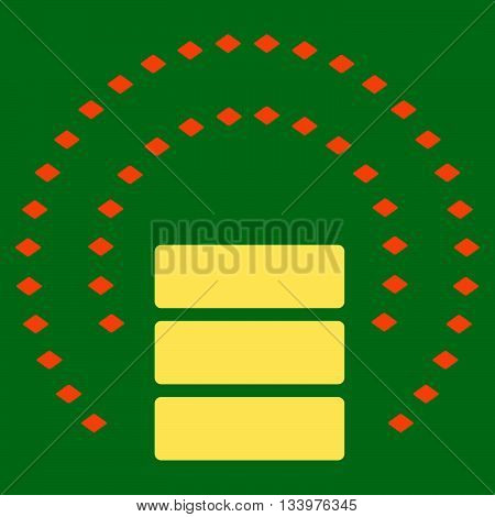 Database Sphere Shield vector toolbar icon. Style is bicolor flat icon symbol, orange and yellow colors, green background, rhombus dots.