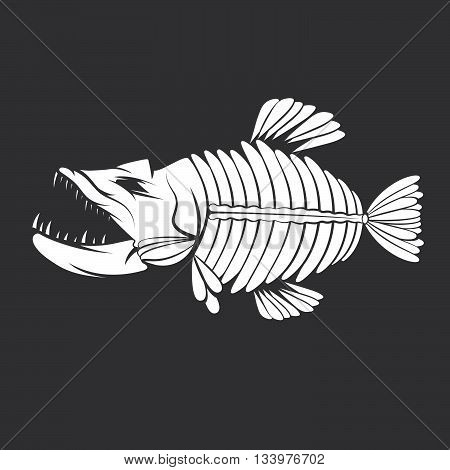 Vector Design Template Of Aggressive Tropical Fish Skeleton