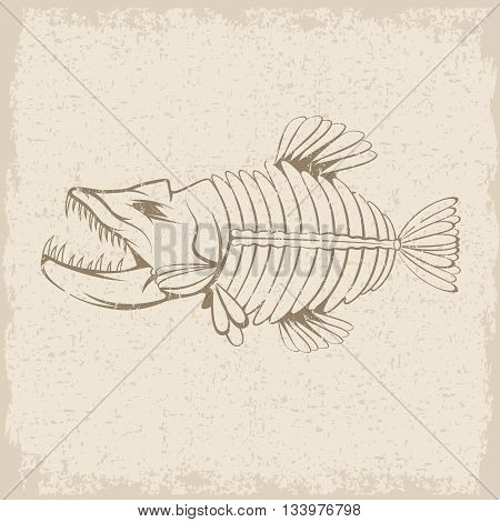 Grunge Vector Design Template Of Aggressive Tropical Fish Skeleton