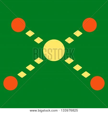 Dotted Links vector toolbar icon. Style is bicolor flat icon symbol, orange and yellow colors, green background, rhombus dots.