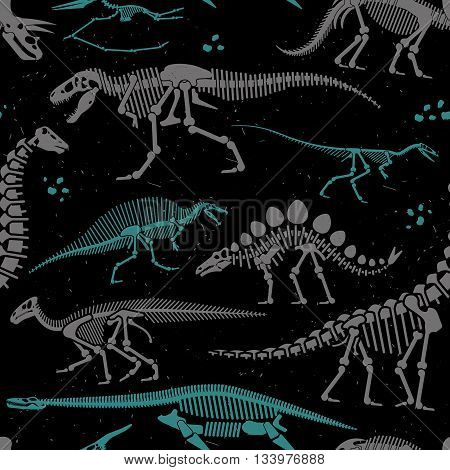 Seamless Pattern of Skeletons of dinosaurs and fossils. Vector illustration.