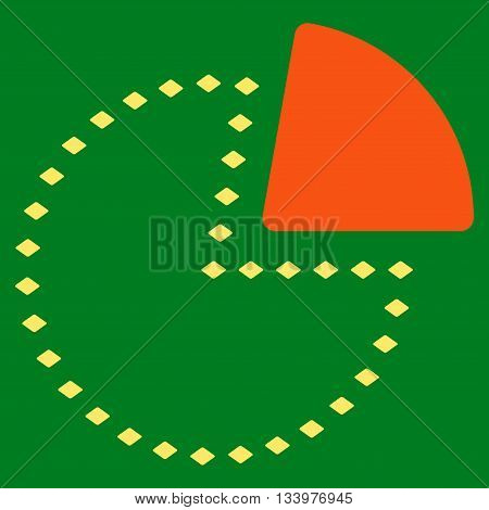 Dotted Pie Chart vector toolbar icon. Style is bicolor flat icon symbol, orange and yellow colors, green background, rhombus dots.