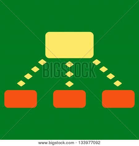 Dotted Scheme vector toolbar icon. Style is bicolor flat icon symbol, orange and yellow colors, green background, rhombus dots.