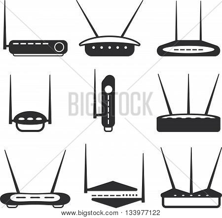 simple router Icons set vector design template