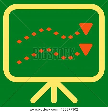 Dotted Trends Board vector toolbar icon. Style is bicolor flat icon symbol, orange and yellow colors, green background, rhombus dots.