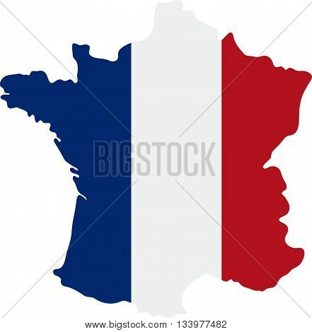 Vector Illustration Of  Tricolor Flag France On The Map