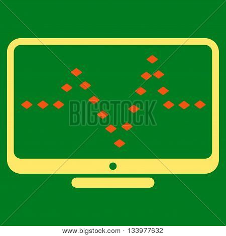 Monitor Dotted Pulse vector toolbar icon. Style is bicolor flat icon symbol, orange and yellow colors, green background, rhombus dots.