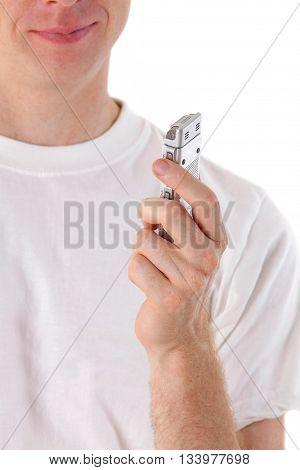 man talk in voice recorder on white background