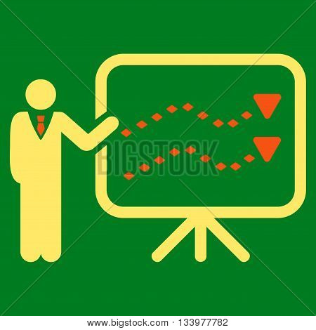Trends Presentation vector toolbar icon. Style is bicolor flat icon symbol, orange and yellow colors, green background, rhombus dots.