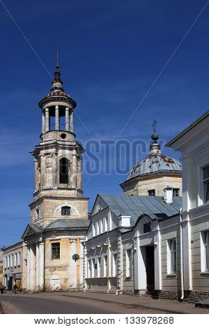 Old abandoned bell tower of orthodox church in the classical style Torzhok Russia