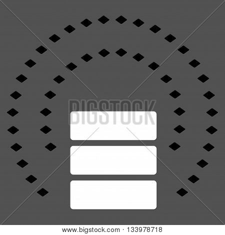 Database Sphere Shield vector toolbar icon. Style is bicolor flat icon symbol, black and white colors, gray background, rhombus dots.