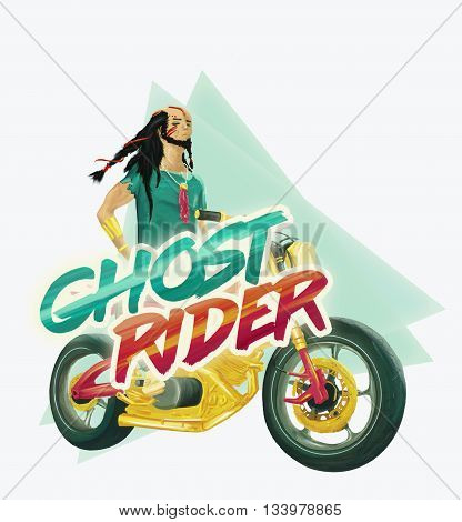 Indian biker with beard on a motorbike. Colourful illustration