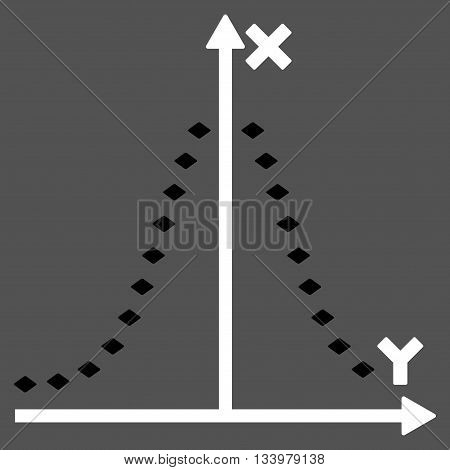 Dotted Gauss Plot vector toolbar icon. Style is bicolor flat icon symbol, black and white colors, gray background, rhombus dots.